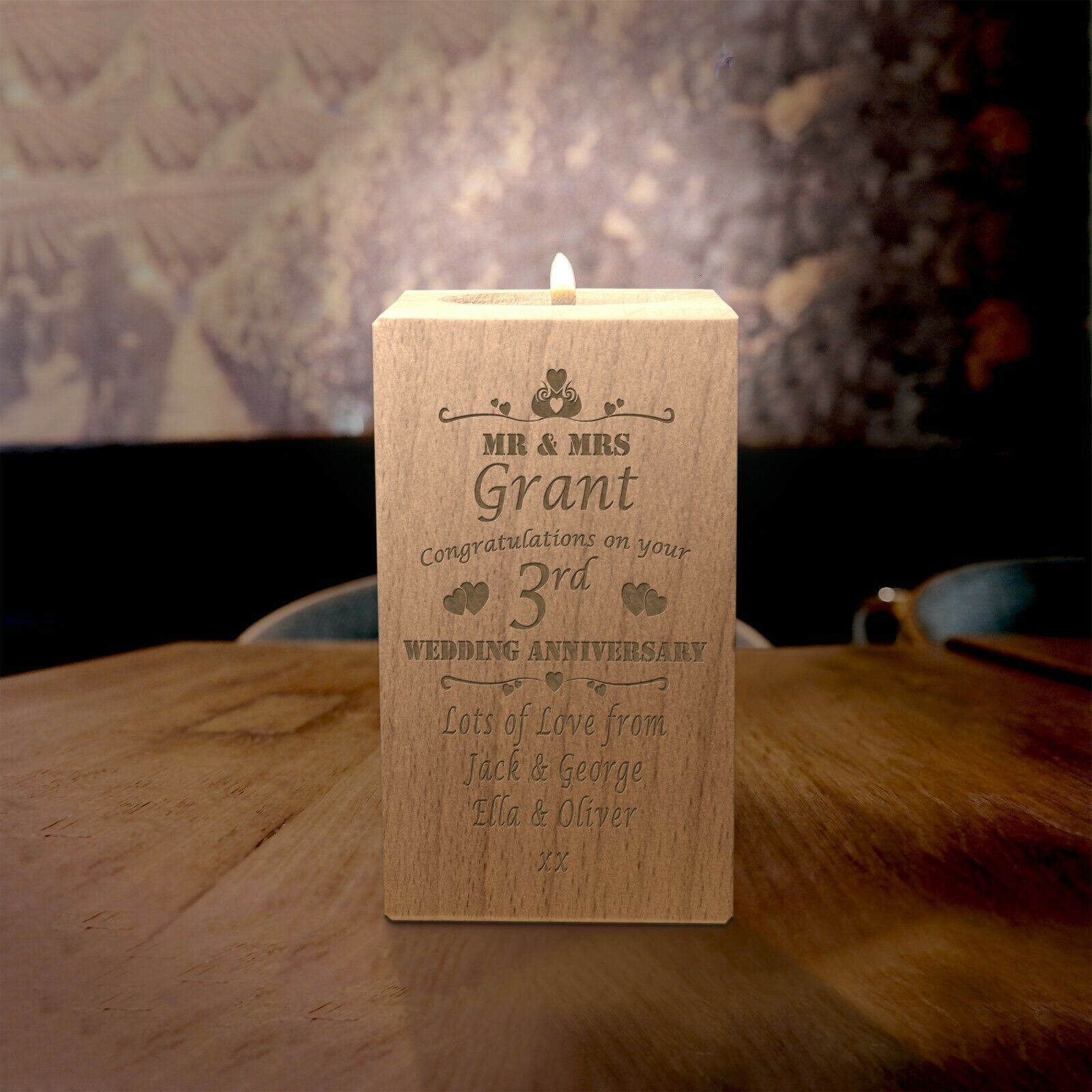 Personalised 3rd Anniversary Candle