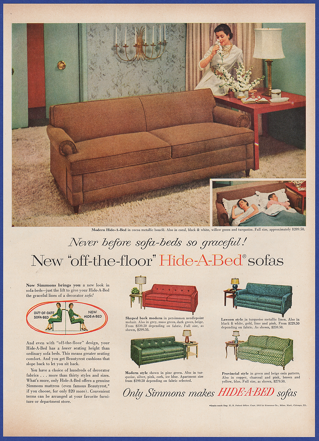 Vintage 1955 Simmons Modern Hide A Bed Sofa Furniture Ephemera 50 S Print Ad Ebay