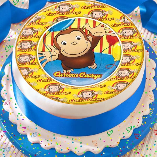 Phenomenal Curious George Logo Border Precut Edible Birthday Cake Topper Funny Birthday Cards Online Sheoxdamsfinfo