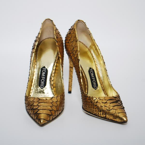 TOM FORD High Heels Shoes Gold Python