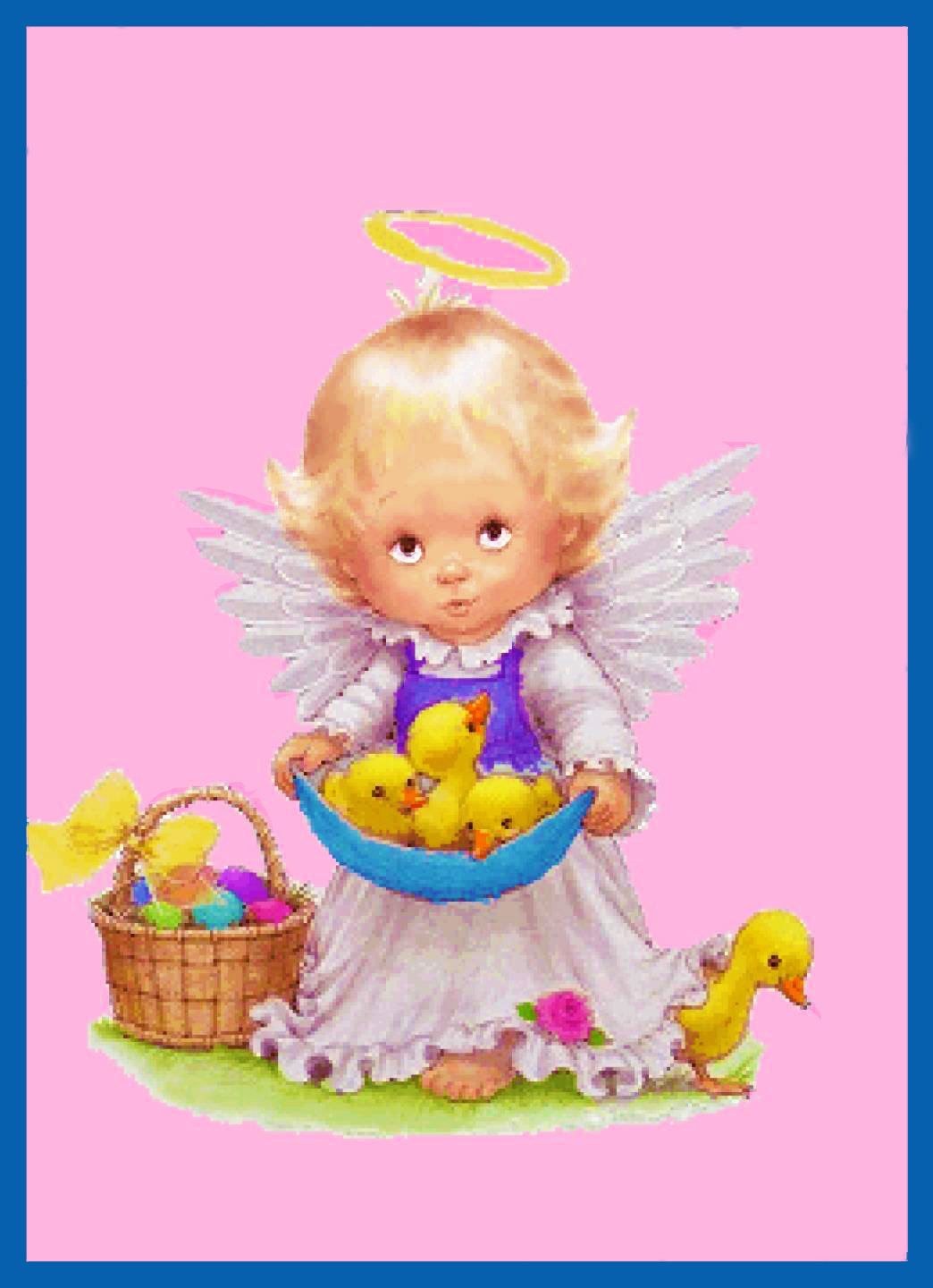 Contemporary Angel Cherub with Easter Basket Chicks Counted Cross Stitch Pattern