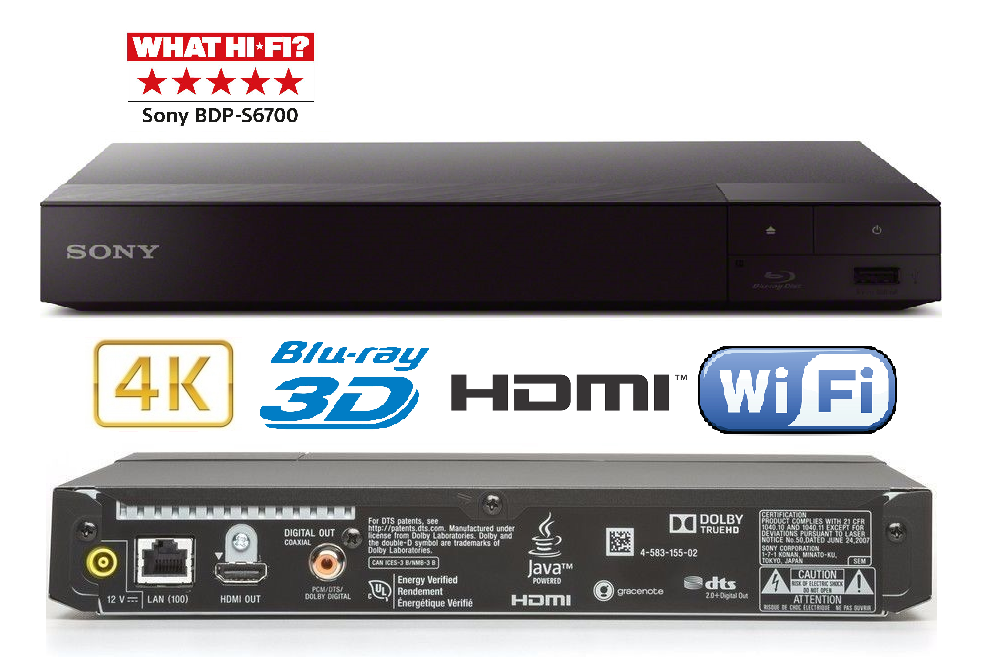 Sony Bdp S6700 4k Upscaling 3d Blu Ray Dvd Player Wifi Ethernet Hdmi 635341446646 Ebay