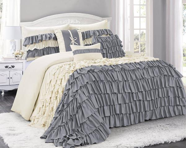 Queen Cal King Bed Solid Ivory Ruffled Pintuck Pleat 8 pc Comforter Set Bedding