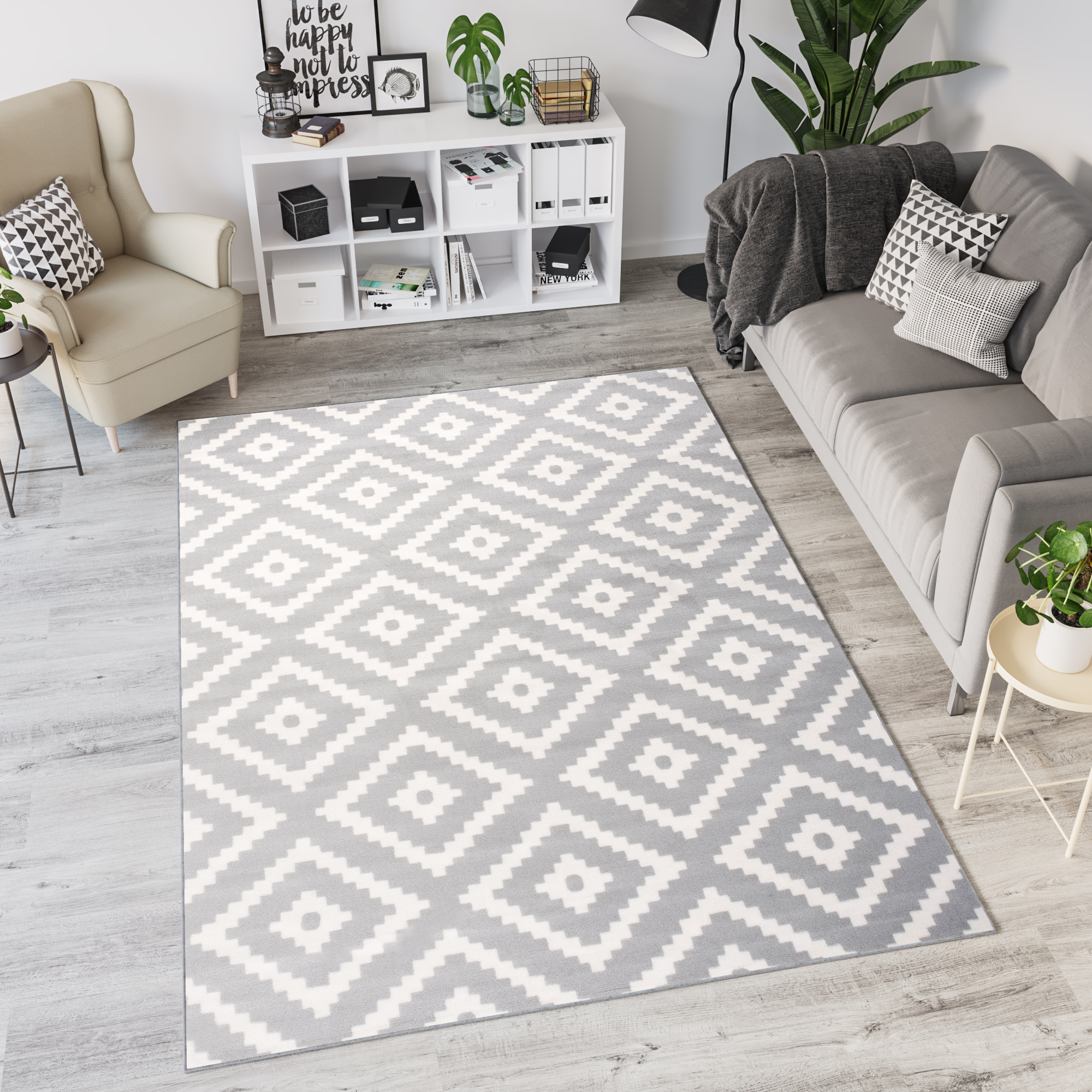 Grey White Black Area Rug Modern Bedroom Living Room Geometric Trellis Carpet Ebay