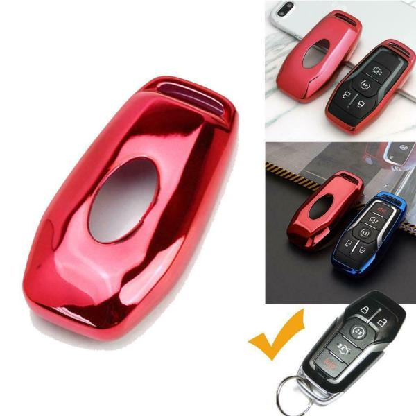 5 Button Intelligent Keyless Glossy Remote Soft TPU Key Fob Cover Case Blue For Ford or Lincoln 4