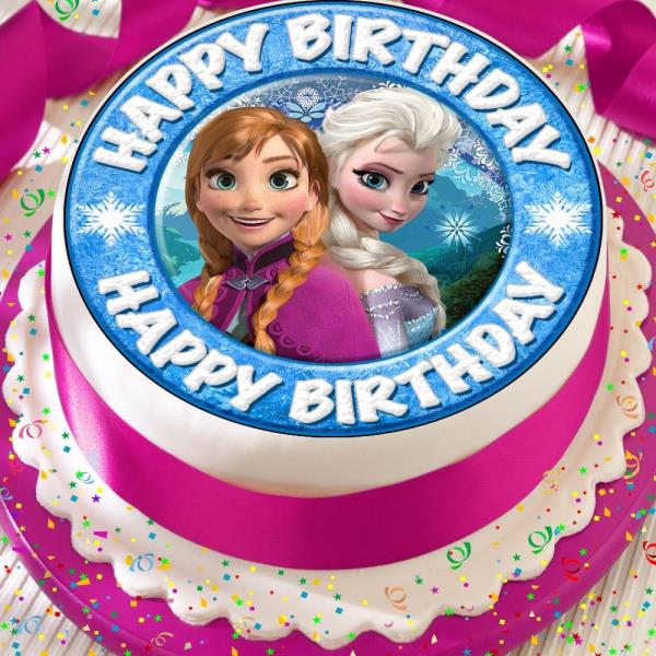 Astounding Frozen Elsa Anna Precut Edible Happy Birthday Cake Topper Funny Birthday Cards Online Elaedamsfinfo