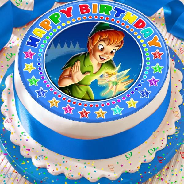 Stupendous Peter Pan Blue Happy Birthday 7 5 Inch Precut Edible Cake Topper Personalised Birthday Cards Beptaeletsinfo