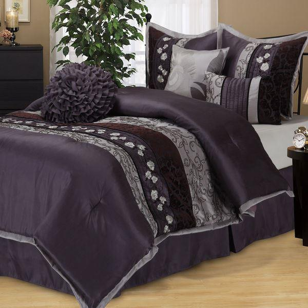 Queen Cal King Size Purple Gray Grey Floral Stripe 7 pc Comforter