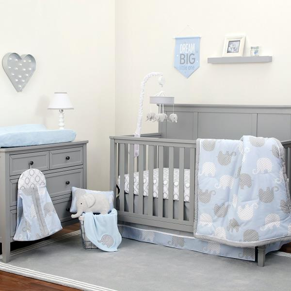 Blue Gray Elephant 8 Pc Crib Bedding Set Baby Boy Nursery Blanket