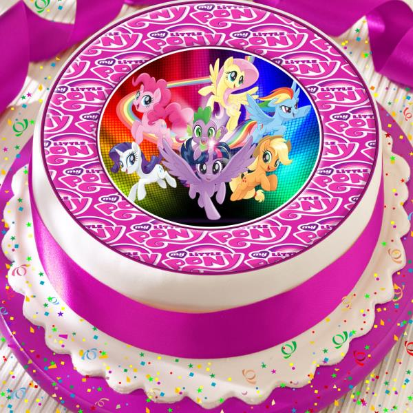 My Little Pony Birthday Cake.Details About My Little Pony Cute Logo Border Precut Edible 7 5 Inch Birthday Cake Topper