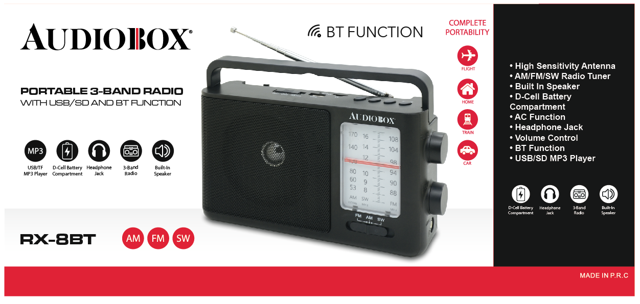 AC Function Rechargeable Battery Portable Bluetooth Radio with AM//FM//SW Bands