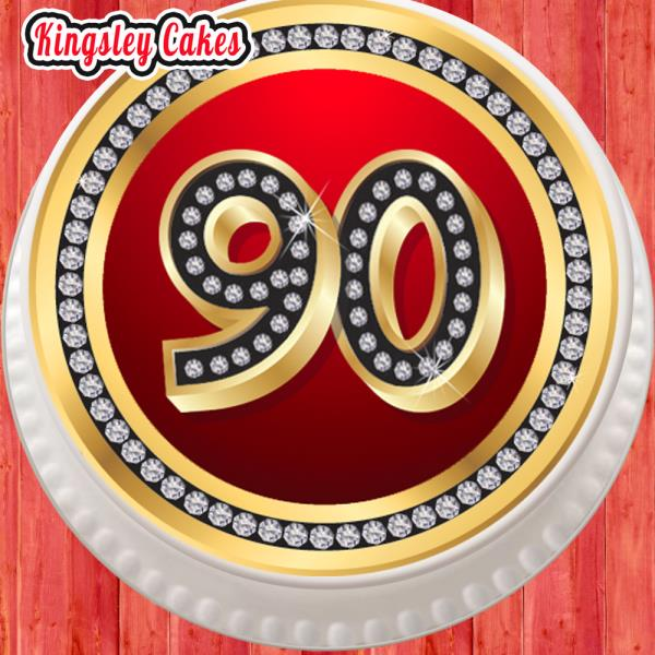 PRECUT 7.5 INCH ROUND RED DIAMONDS 90TH AGE 90 EDIBLE ICING SHEET CAKE TOPPER