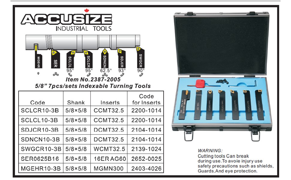Accusize Industrial Tools 5//8 Shank 7 Pc Indexable Carbide Turning Tool Set in Fitted Box 2387-2005