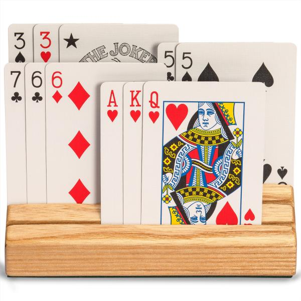 YMI Extra-Wide Solid Beechwood Playing Card Holders Set of 2