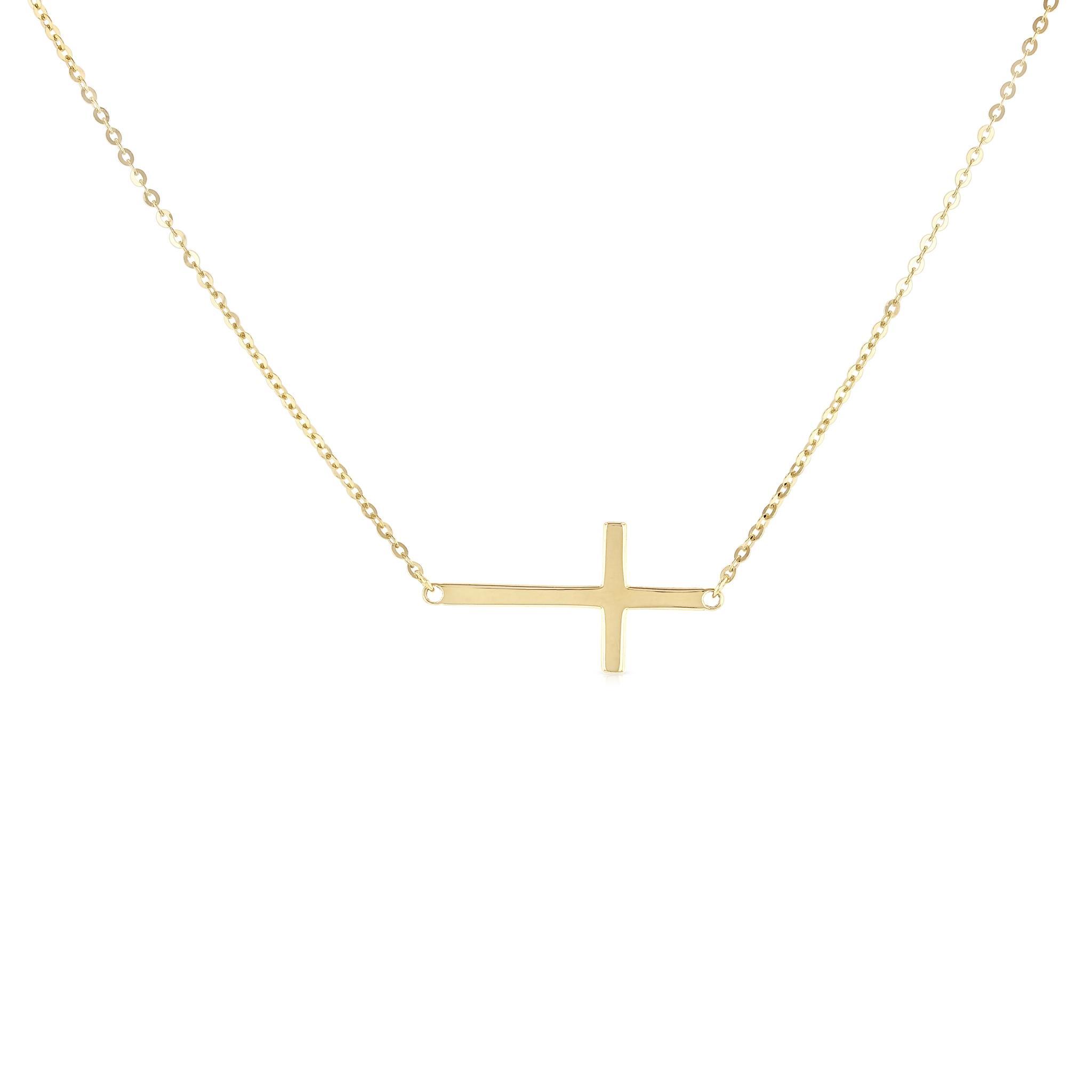 14K Two Tone Gold Cross Charm Pendant with 1.1mm Wheat Chain Necklace
