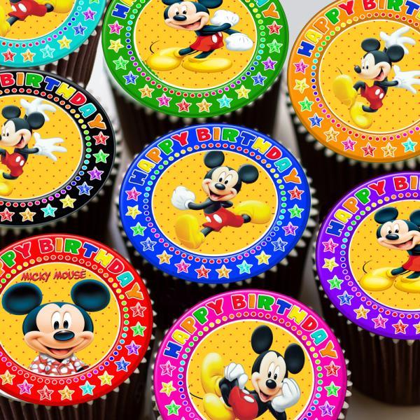 Pleasant Mickey Mouse Mixed Happy Birthday Images Edible Cupcake Topper Birthday Cards Printable Trancafe Filternl