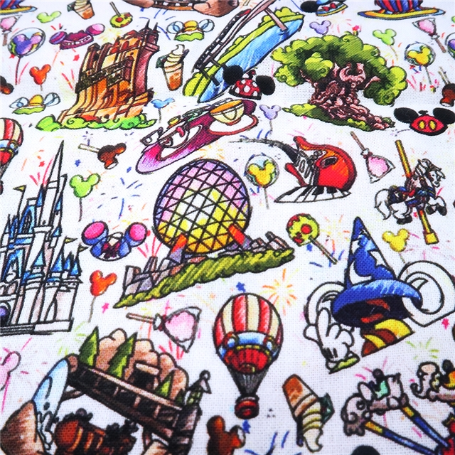 Disneyland Castle and character Crafts Printed Polycotton blend fabric 50*145cm