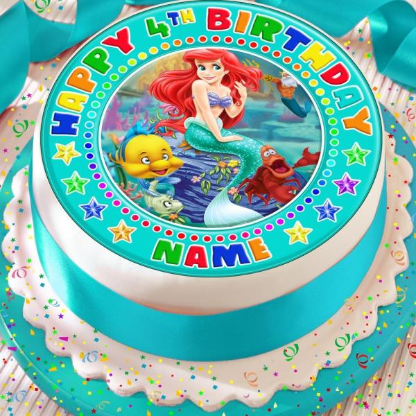 ARIEL PERSONALISED PRECUT EDIBLE ICING 7.5 INCH CAKE TOPPER DECORATION