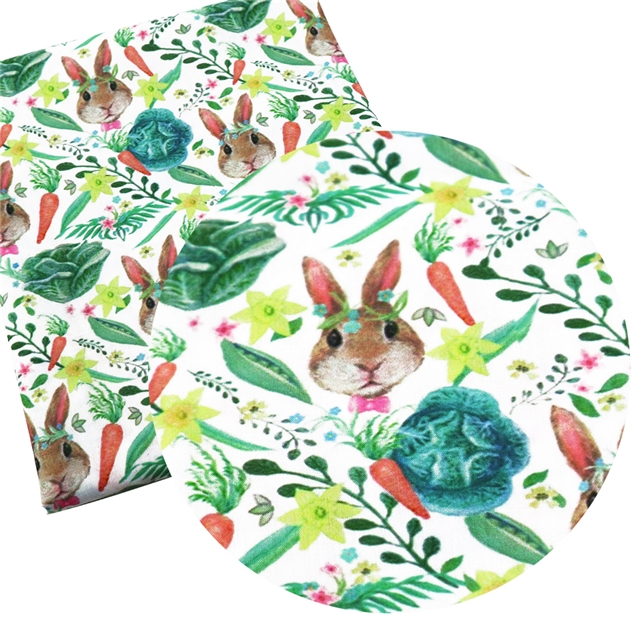 FABRIC BUNNY RABBIT VEGETABLE GARDEN EASTER PRINT POLYCOTTON 50 X 145CM//20*58 IN