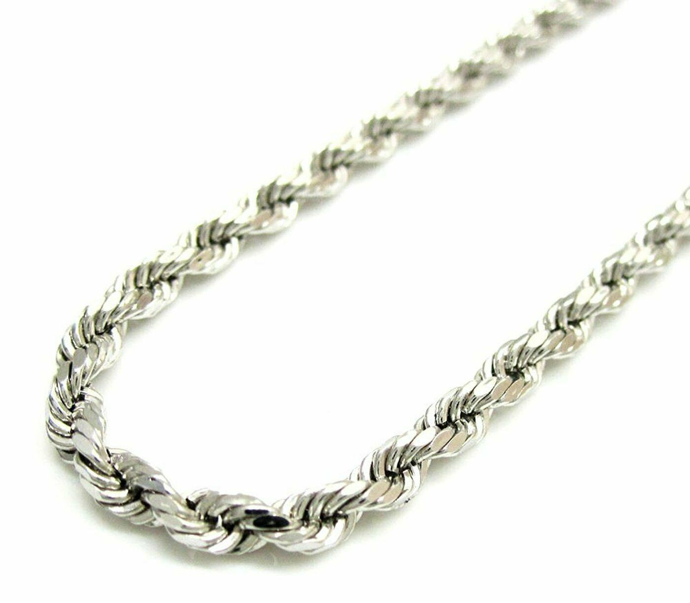 4.5mm Mens Solid .925 Sterling Silver Diamond-Cut Rope Chain Necklace