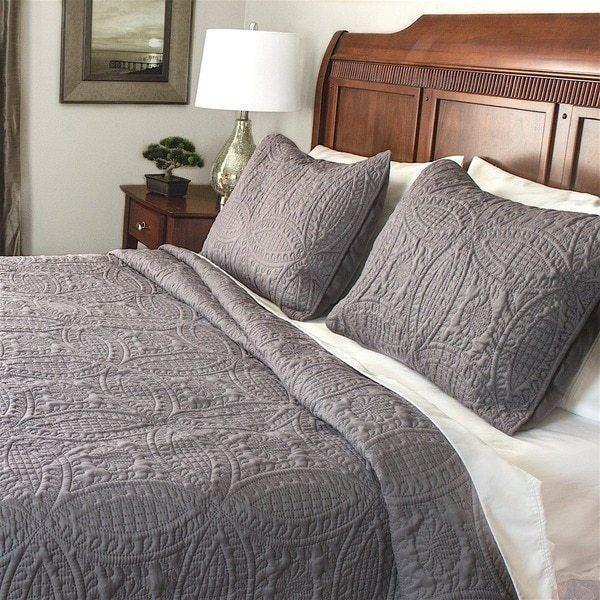 Twin Full Queen King Size Bed Solid Gray Grey Reversible 3 pc Quilt Set Coverlet