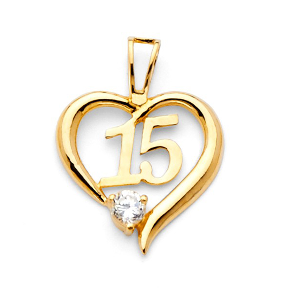 14k Yellow Gold and Rose Gold Round Mis 15 Anos Guadalupe Quinceanera Pendant
