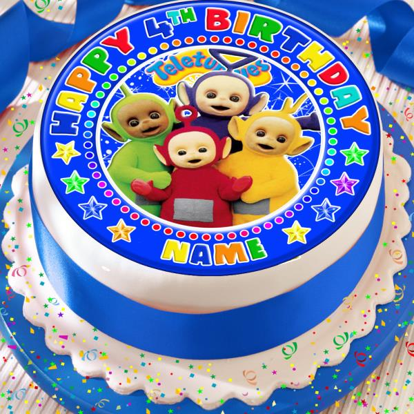 Surprising Teletubbies Birthday Blue Personalised 7 5 Inch Precut Edible Cake Birthday Cards Printable Nowaargucafe Filternl