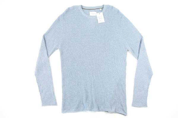 Billy Reid Mens Cotton Cashmere Mini Waffle Crew Neck Sweater