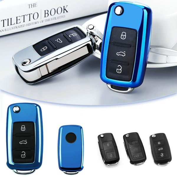 Glossy Silver Soft TPU Smart Entry Key Cover Shell FOB Case for Chevy Camaro