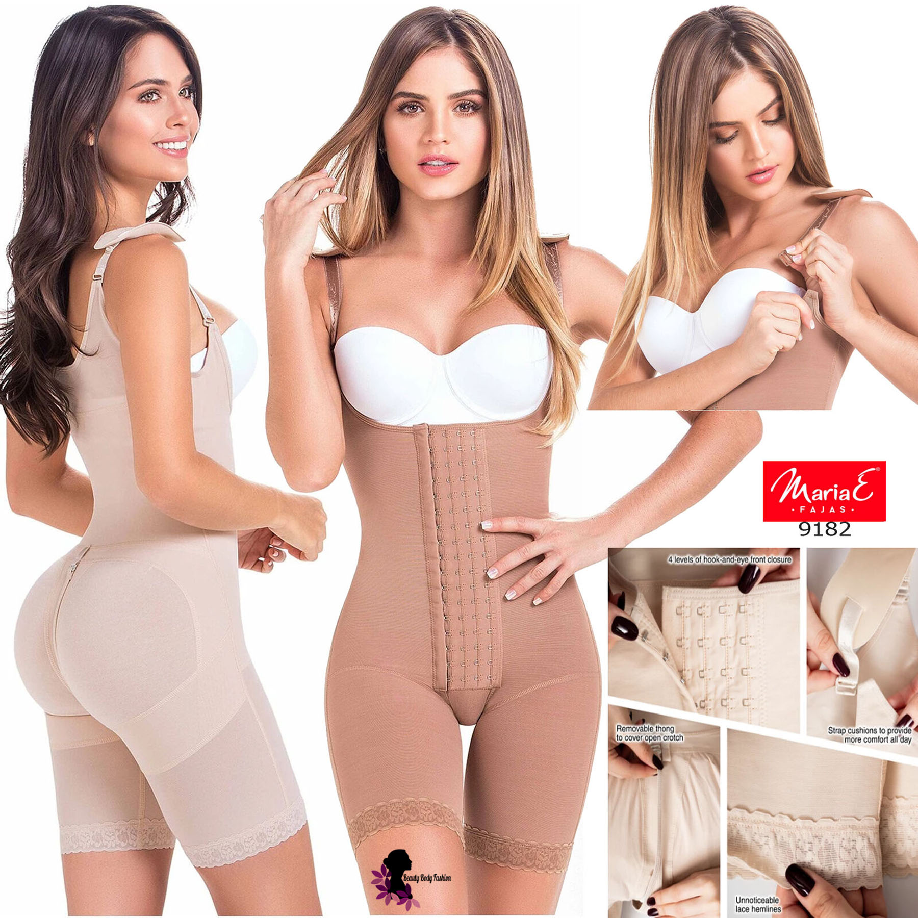 Fajas Colombianas Full Body Shaper Butt Lifter Short Style with Bra /& High Back Coverage