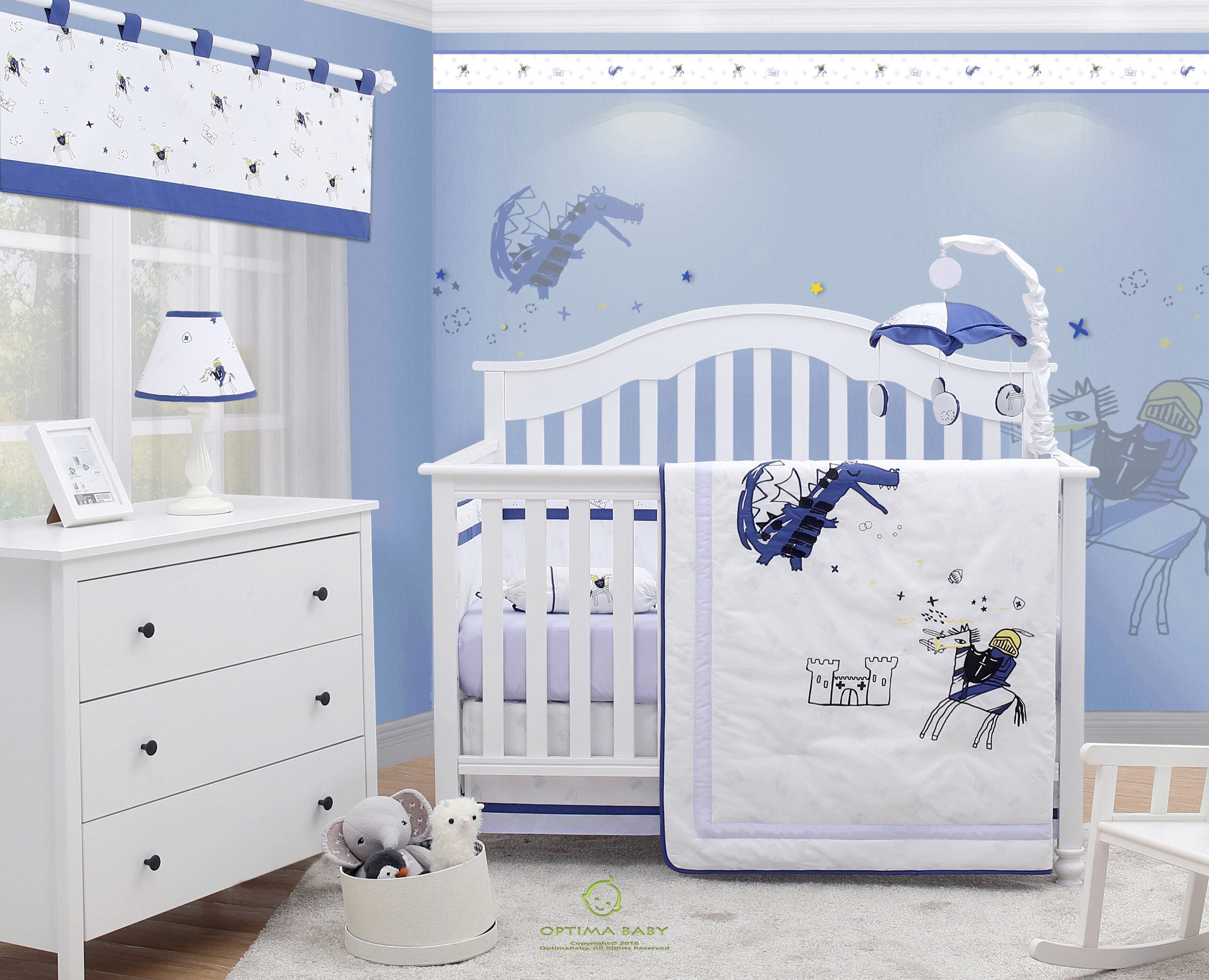 6 Piece Knight Dragon Blue Baby Boy Nursery Crib Bedding Sets By