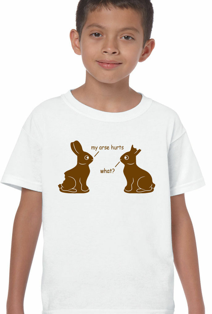 Easter T-Shirt My Arse Hurts Kids Boys FunnyChocolate Bunny Rabbits Egg Holiday