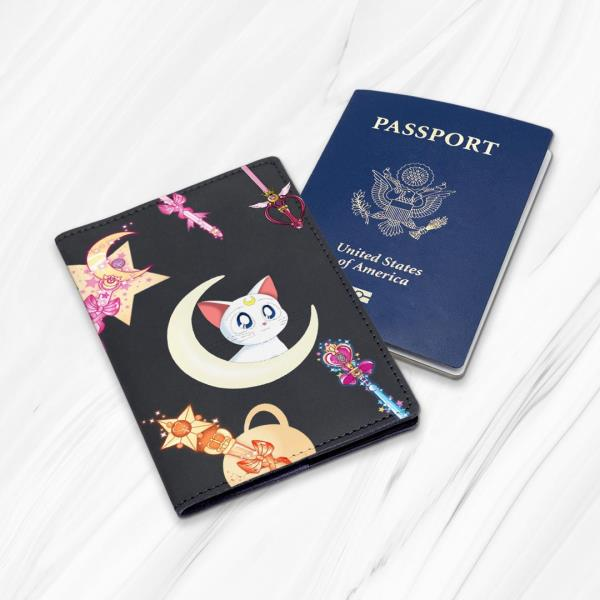 Anime Girl Cute Smile Tenderness Cherry Leather Passport Holder Cover Case Travel One Pocket