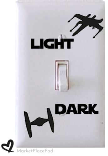 Star Wars Light Switch Set Wall Plate Decal Home Decor Sticker XWING TIE FIGHTER