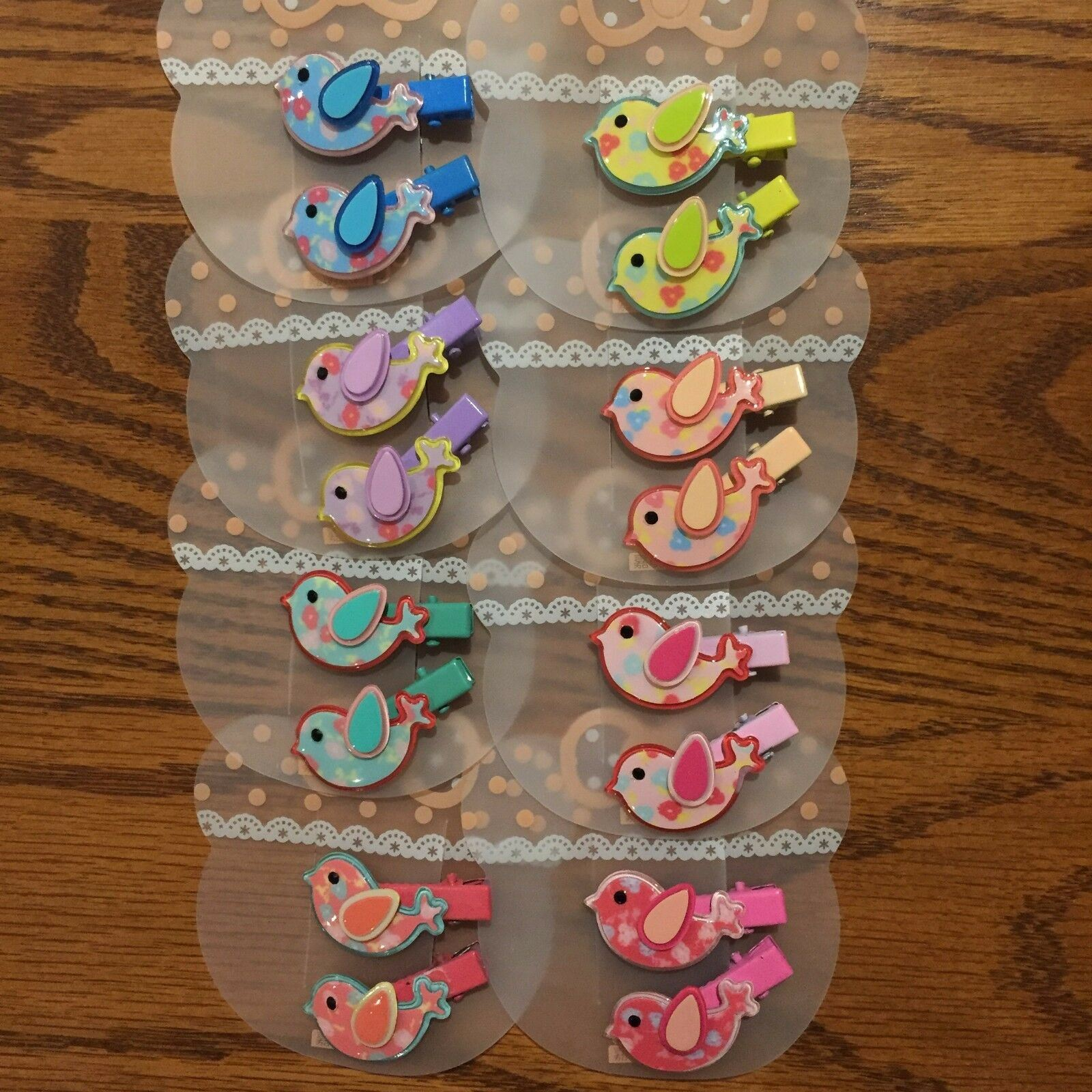 LIGHT PINK SET OF TWO GIRLS BABY HAIR CLIPS FLORAL BIRDS 2