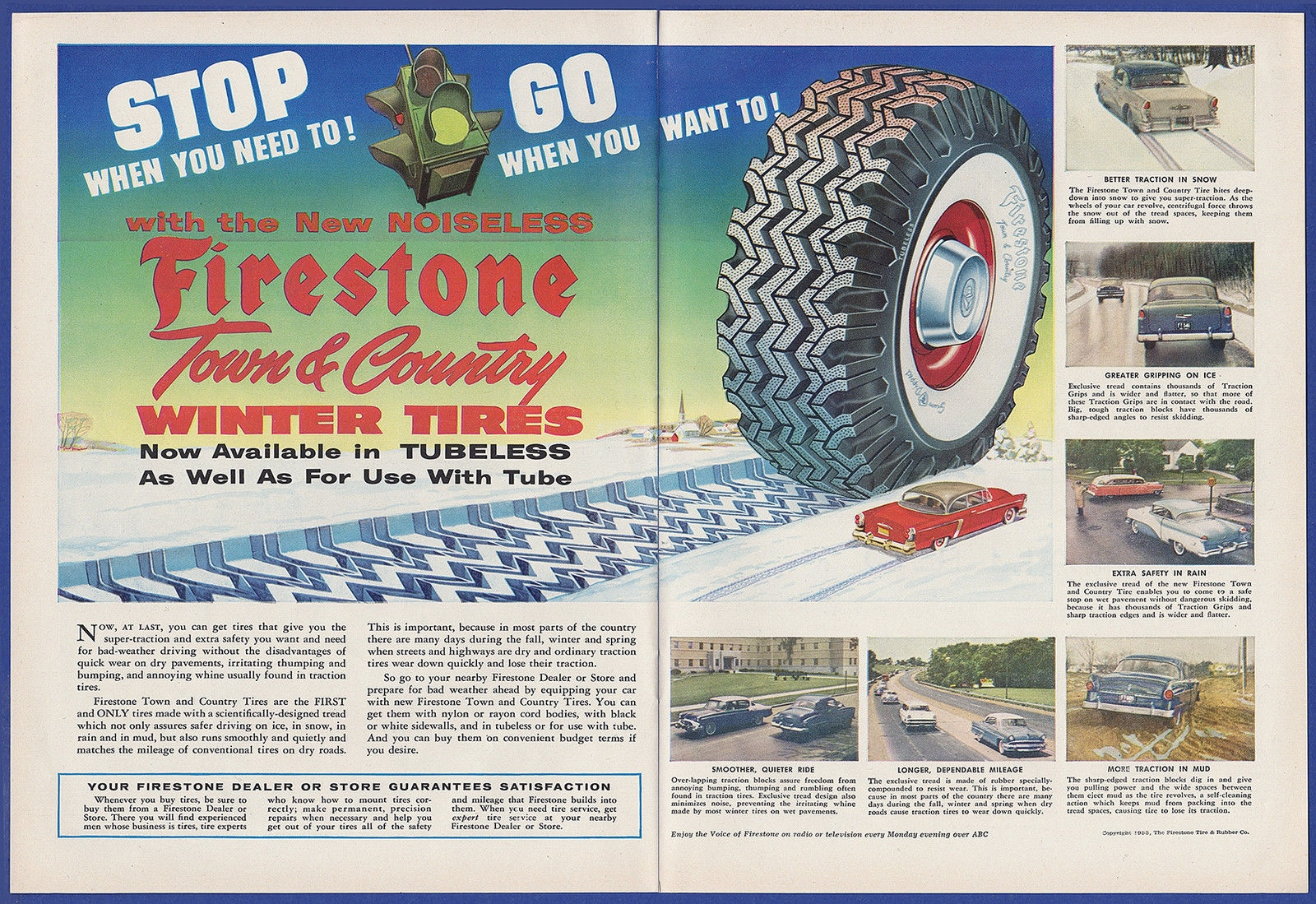 Vintage 1955 Firestone Town Country Winter Tires Print Ad 1950 S 50 S Ebay
