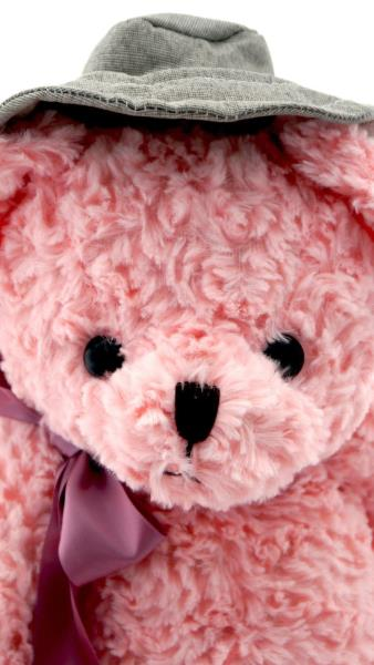 COLLECTABLE CUTE AZZ PLUSH TEDDY BEAR WITH HAT AND BOW PINK 24cm B18