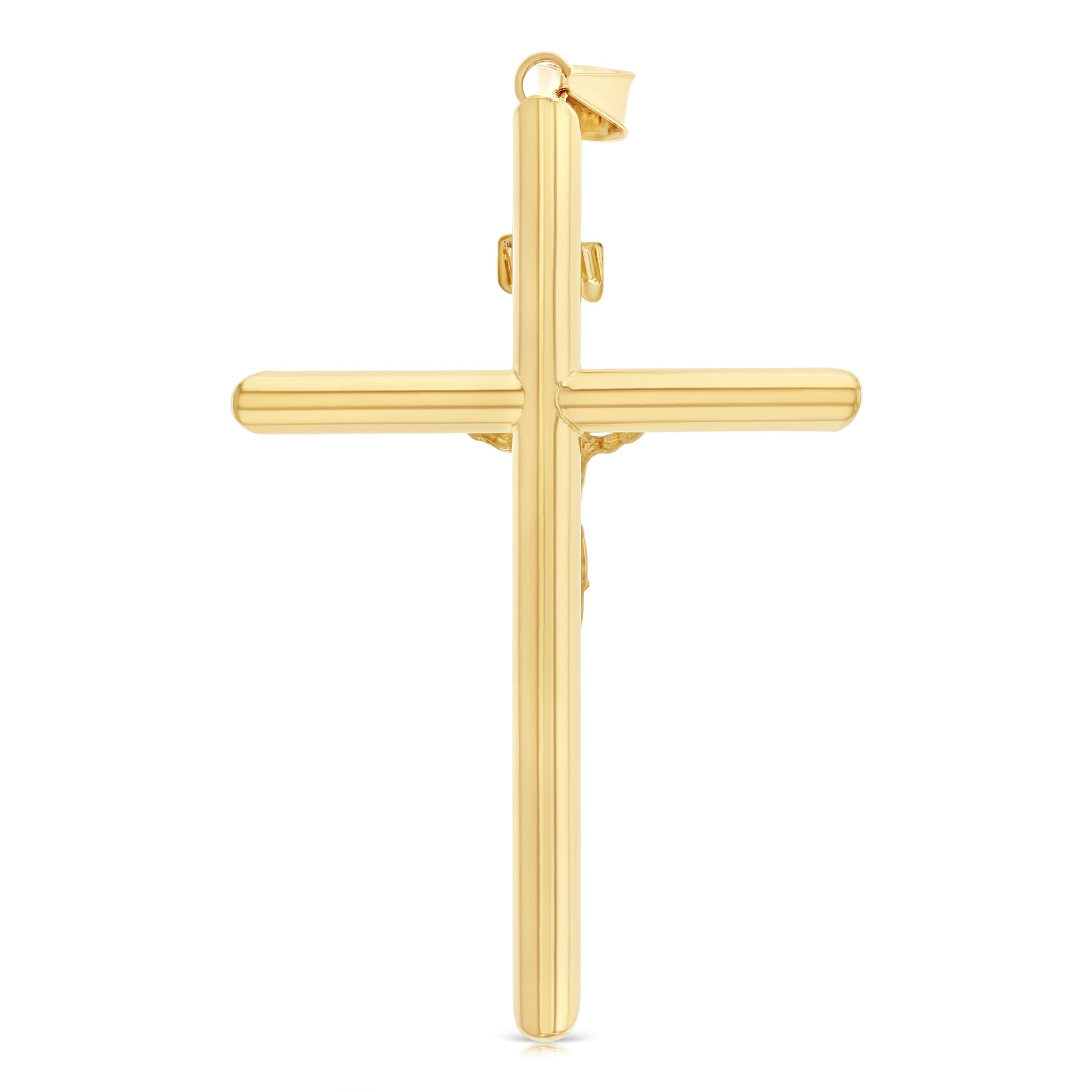 Ioka 14K Two Tone Gold Cross Religious Charm Pendant For Necklace or Chain