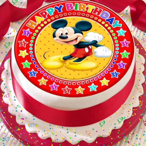 Sensational Mickey Mouse Happy Birthday Precut Edible 7 5 Inch Cake Topper Birthday Cards Printable Trancafe Filternl