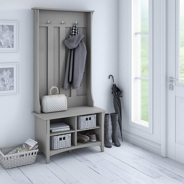 Amazing Details About Rustic Gray Wooden Hall Tree Coat Rack Hat Hooks Storage Stand Entryway Bench Dailytribune Chair Design For Home Dailytribuneorg