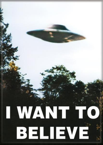 1990s The X-Files TV show I Want to Believe UFO fridge magnet new!