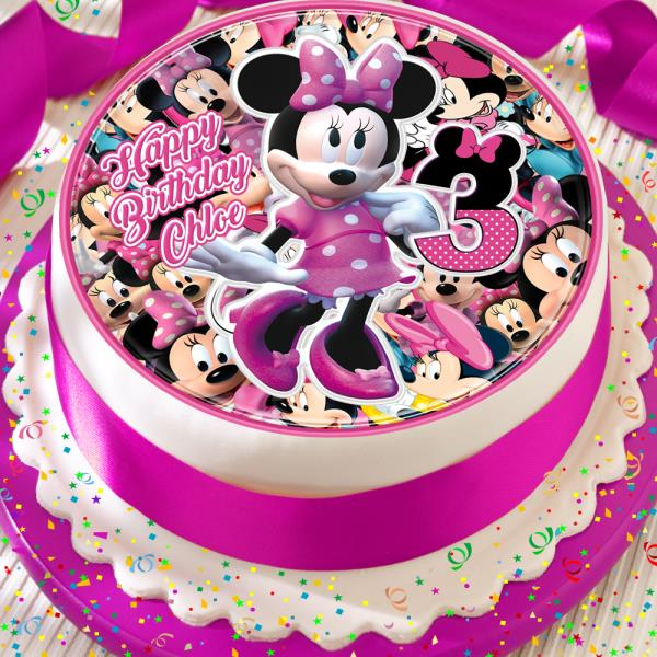 MINNIE MOUSE EDIBLE ROUND BIRTHDAY CAKE TOPPER DECORATION PERSONALISED