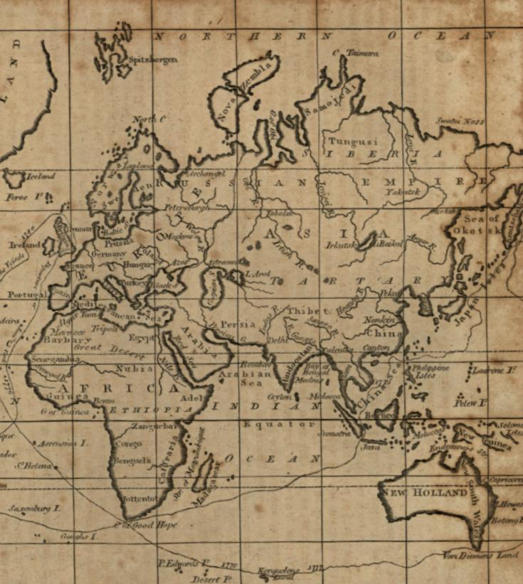 Cook 14x24 Discoveries by Capt 1799 Historic World Vintage Map Poster