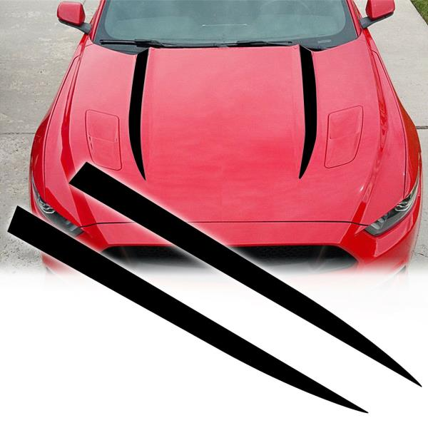2015 2016 2017 Ford Mustang Vinyl Cowl Hood Stripe Spears Graphics GT Style 1