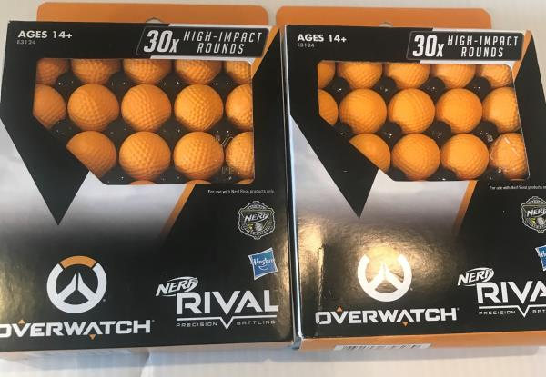 NERF Rival Ammo Overwatch Balls 2 Boxes 30x High Impact Rounds Refill