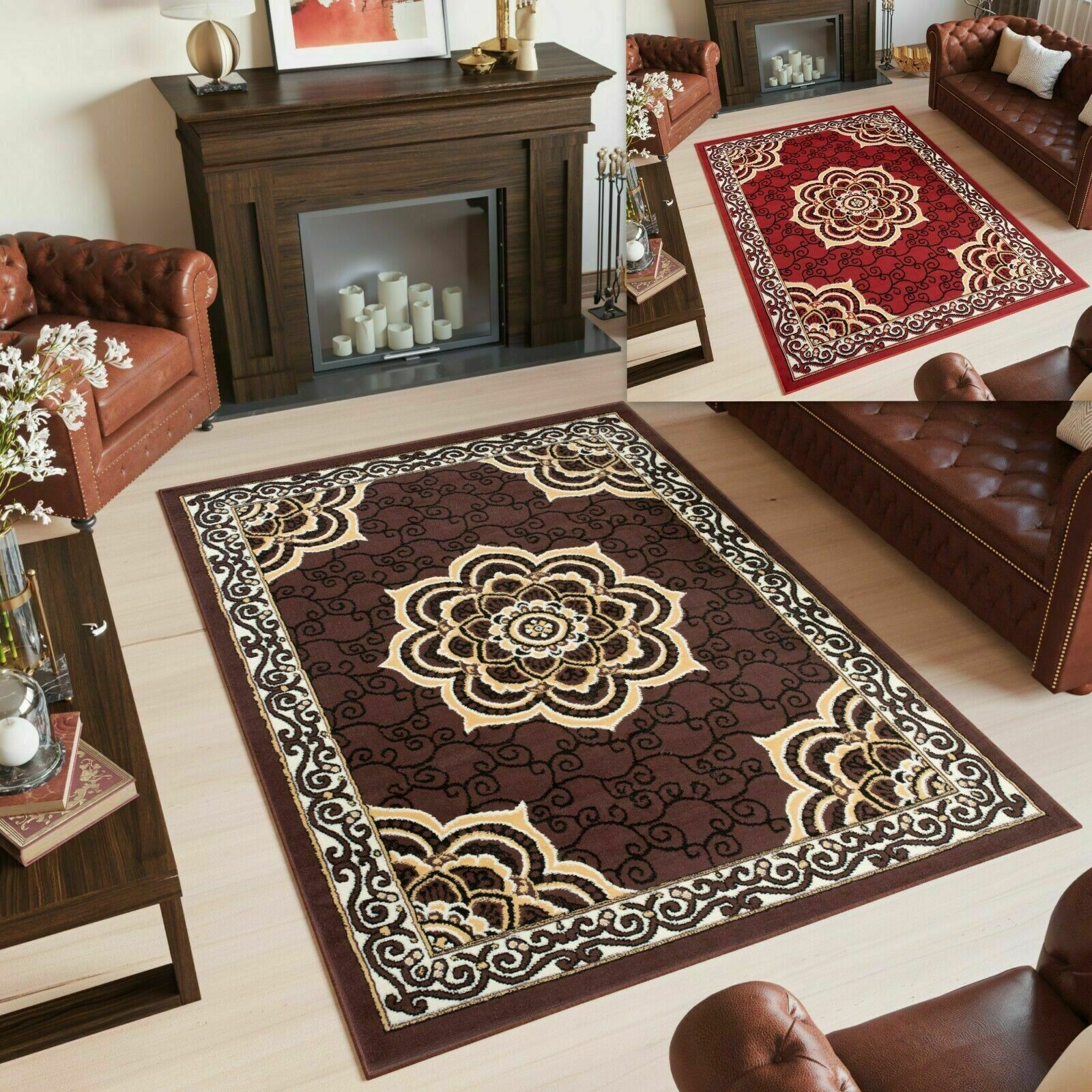 Classic Red Burgundy Area Rugs Traditional Design Ornaments Living Room Carpet Ebay