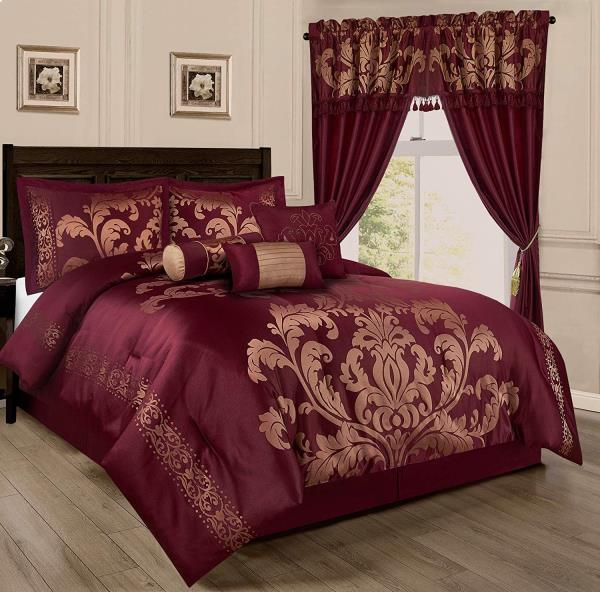 Details about Full Queen Cal King Size Bed Burgundy Red Gold Floral Damask  7 pc Comforter Set