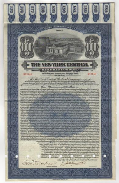 1921 New York Central Railroad Bond Stock Certificate With Coupons