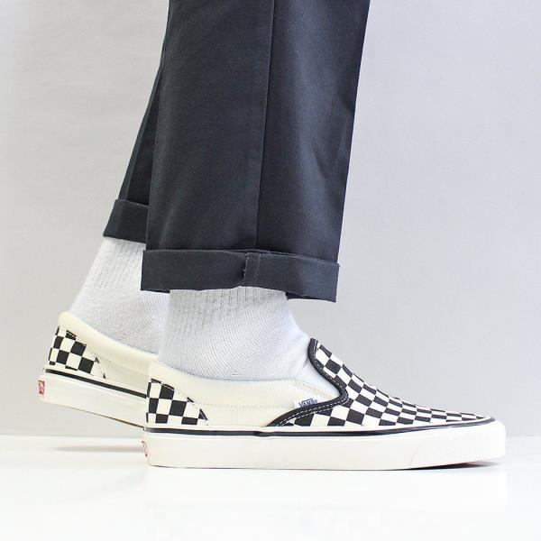Details about Vans Men's New Classic Slip On 98 DX Canvas Shoes Black White  Checkerboard