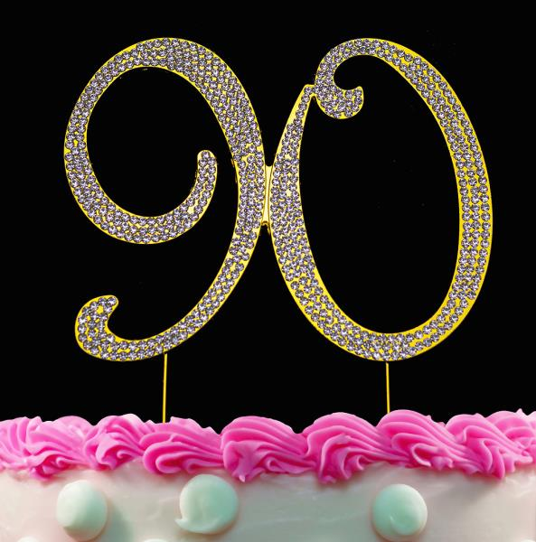 Tremendous 90Th Birthday Cake Toppers Gold Bling 90 Cake Topper Gold Birthday Funny Birthday Cards Online Inifofree Goldxyz